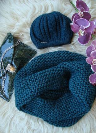 Комплект шапка + снуд бутылочного цвета