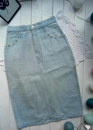 Джинсовая юбка карандаш высокая талия