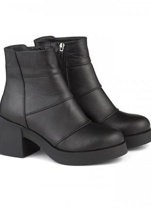 Кожаные замшевые женские черные зимние демисезонные ботинки на...