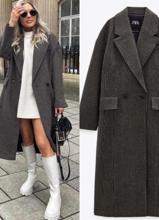 Пальто zara из шерстяной ткани с узором гусиная лапка