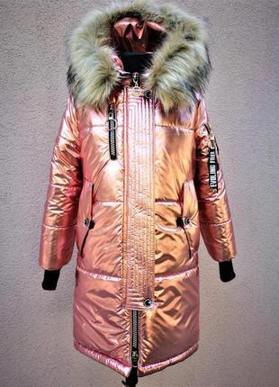Стильное удлиненное пальто для девочки подростка прямого силуэта