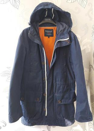 Синяя мужская удлинённая куртка курточка с капюшоном парка пид...