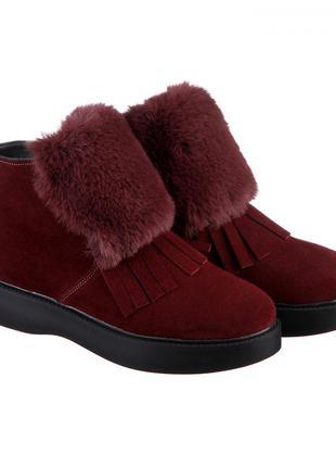 Замшевые женские зимние бордовые короткие ботинки с опушкой и ...