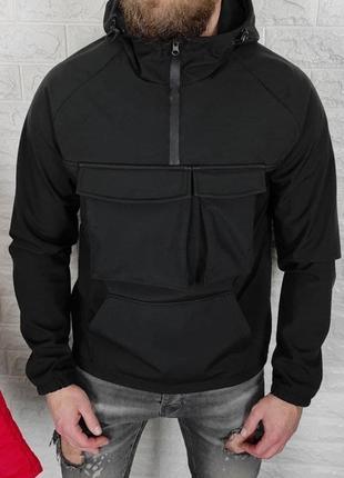 Анорак мужская soft shell черная / куточка куртка чоловіча соф...