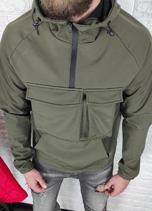 Анорак мужская soft shell хаки / куточка куртка чоловіча софтш...