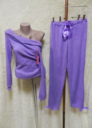⛔✅шикарный ангоровый вязаный костюм с открытыми плечами рр 44-46