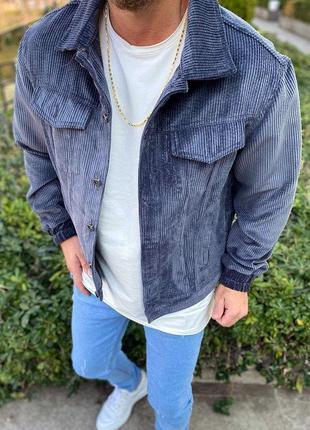 Куртка мужская короткая вельветовая синяя / курточка чоловіча ...