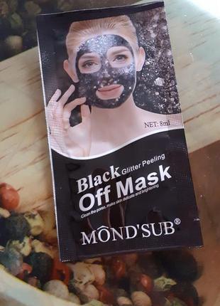 Черная маска пилинг с блёстками