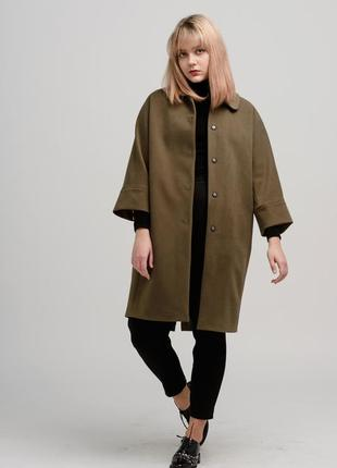 Осеннее женское пальто season оливкового цвета