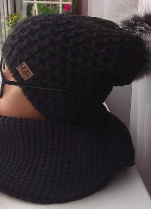 Новый комплект: удлиненная шапка с натуральным бубоном (полный...