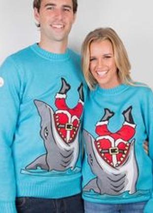 Классный новогодний свитер джемпер унисекс с шерстью дед мороз...