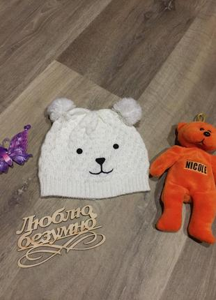 Милая акриловая шапочка *медвежонок* на 1\2 года