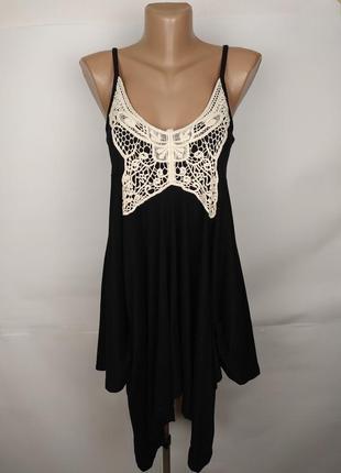 Платье новое хлопковое стильное с кружевом denim co uk 10/38/s