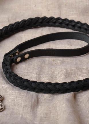 Поводок для собак плетенный кожа черный