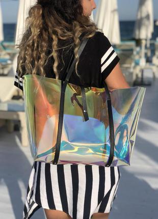 Пляжная большая сумка с клатчем силиконовая на плечо полупрозр...