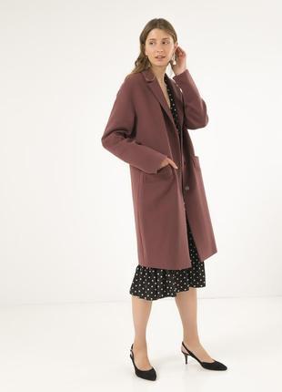 Стильно женское пальто season цвета молочный шоколад