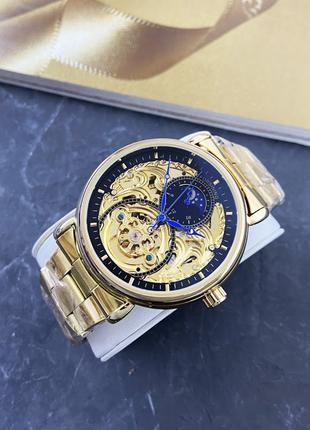 Наручные часы Forsining 8177 Gold-Black Наручні часи, годинник