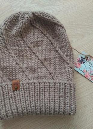 Шапка бини базовая вязаная теплая шапка с отворотом 100% шерст...