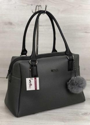 Женская вместительная сумка серого цвета