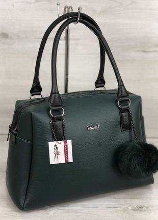 Женская вместительная сумка зеленого цвета