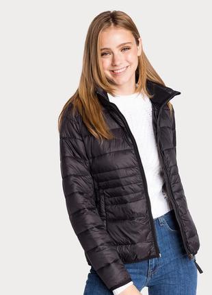 Новая женская демисезонная тёплая чёрная куртка с капюшоном