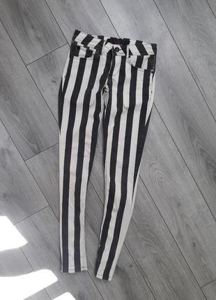 Штаны джинсы в полоску зебра