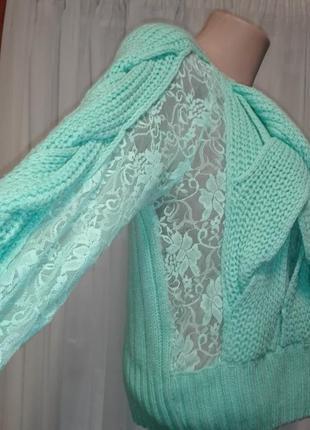 Топ⛔✅бирюзовый свитерок с гипюром