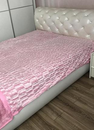 Шикарный плед норка, розовый