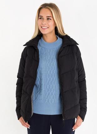 Новая женская демисезонная чёрная тёплая куртка без капюшона