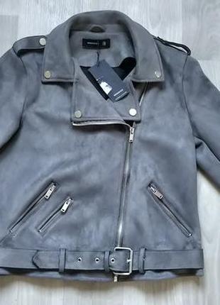 Новая женская демисезонная замшевая серая куртка косуха reserved