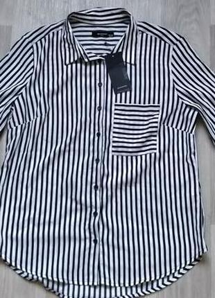 Новая женская чёрно-белая блуза рубашка в полоску reserved