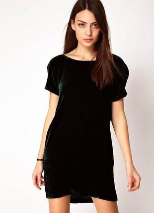 Черное бархатное платье, туника с коротким рукавом