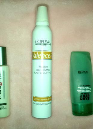 Проф. брендовые средства для волос - мусс, жидкий воск и защита.