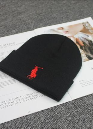 Шапка polo ralph lauren черная с красным лого