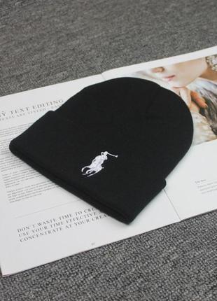 Шапка polo ralph lauren черная с белым лого