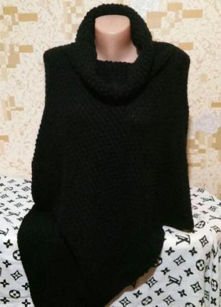 Вязанное теплое пончо (свитер, туника)