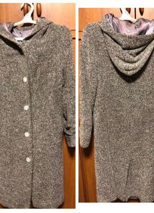Серое пальто-букле-тренч с капюшоном. шито под заказ. 44-46.