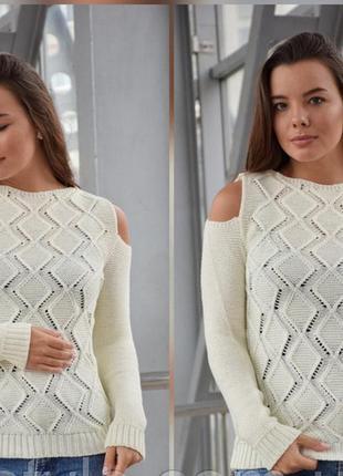 Вязаный свитер с оригинальным рукавом ажурный свитер