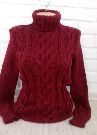 Свитер теплый вязаный с горловиной#свитер гольф#свитер женский