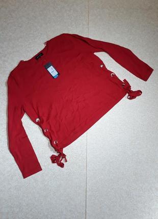 Актуальный яркий джемпер, свитер с завязками