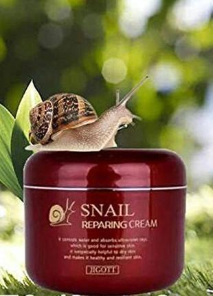 Мультифункциональный улиточный крем jigott snail reparing crea...