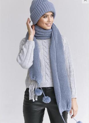Шапка и шарф объемной вязки разные расцветки