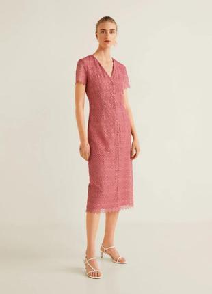 Розовое платье-халат mango