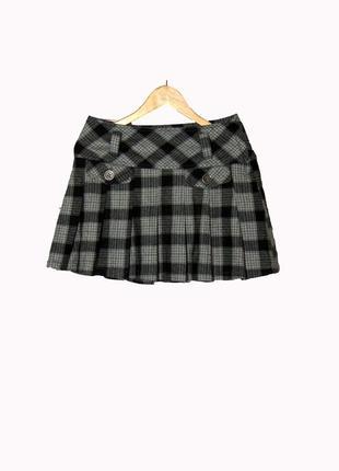 Короткая шерстяная юбка в клетку chic&jeune