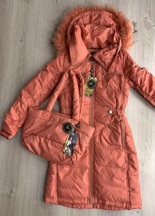 Зимнее пальто на подростка или девушку сумка в подарок