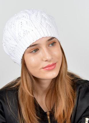 Белый вязаный берет шапка шапочка обмен