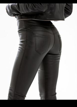 Утепленные лосины леггинсы штаны кожа экокожа тёплые кожаные ш...
