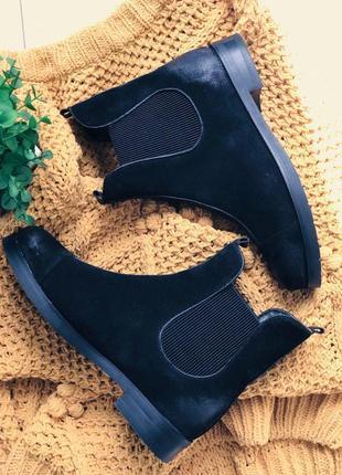 Женские ботинки черные замшевые