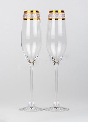 Свадебные бокалы золото Богемия