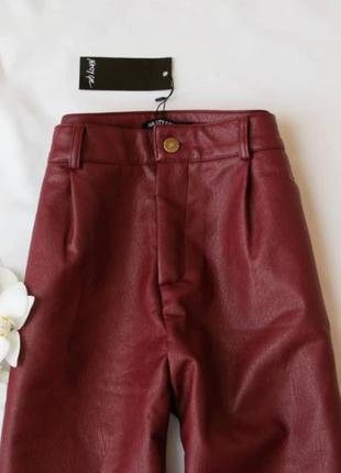 Штани штаны брюки еко кожа талия высокие бордо